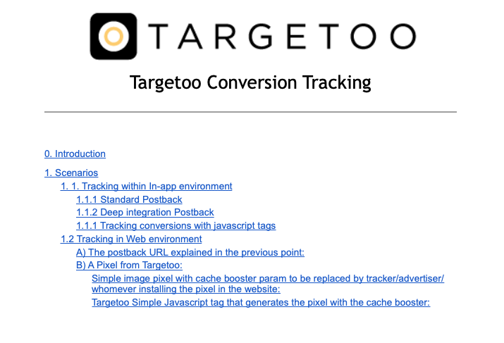 Targetoo conversion tracking guidelines