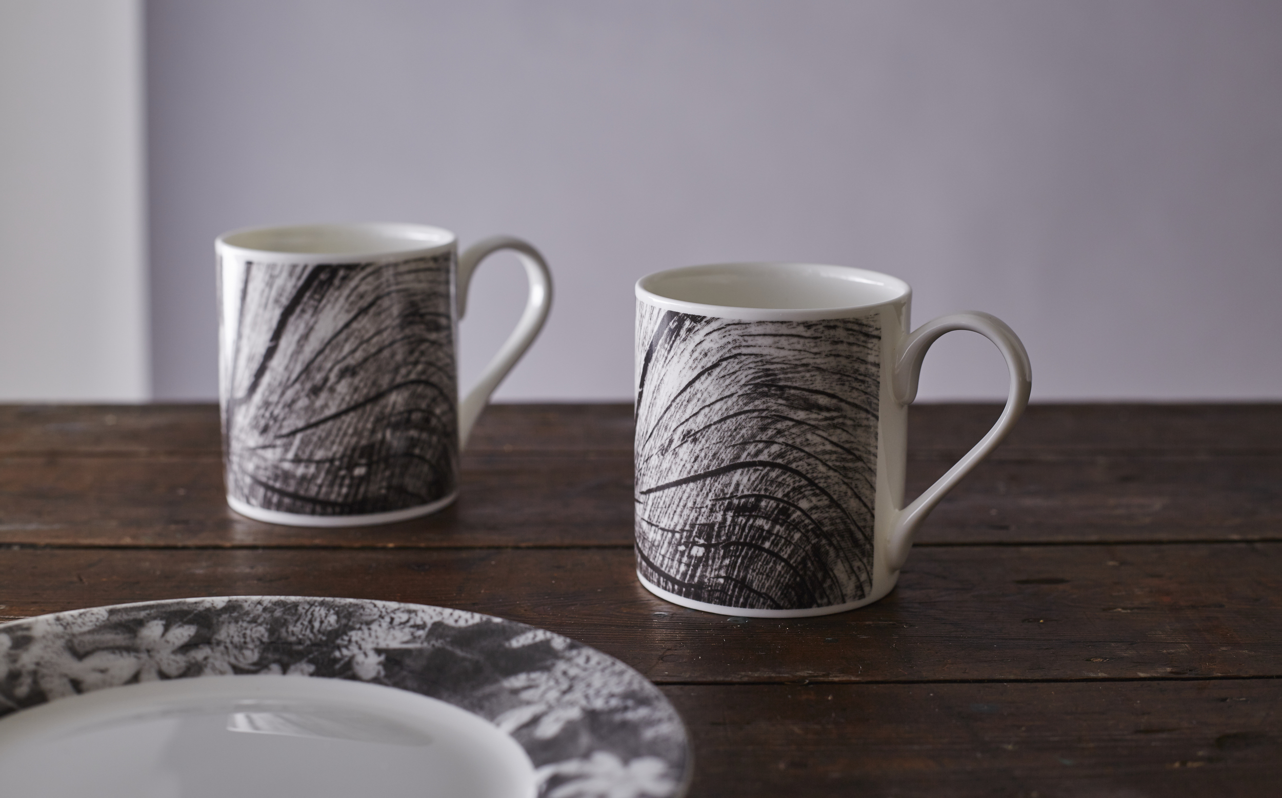 Woodcut mugs and Wood Anemone side plate from the Forest Tableware range