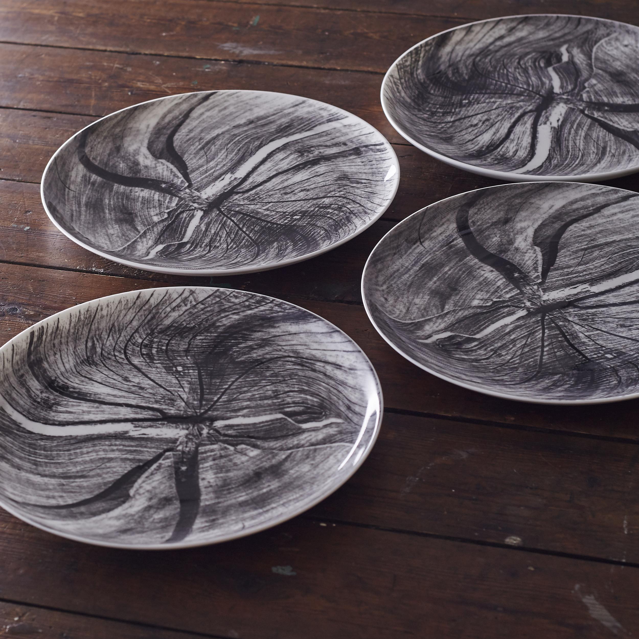 Woodcut dinner plates