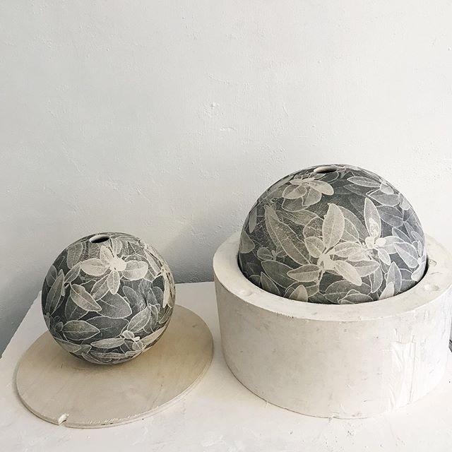 Two silver leaf print moon jars in progress, swipe for print detail, screenprinted porcelain, press moulded, now drying... #ceramicshandmade #porcelain #clay #screenprinting #printonclay #botanical #outsideinside #contemporarycraft #surfacedecoration #ceramicart #vase #vessel #moonjar #interiordesign #halftone #monochrome #wip #maker #handmade