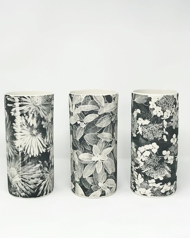 A kiln fresh garden trio of porcelain vases fired up to 1260, 25cm h. The porcelain shrinkage gives the print a lovely vitrified density and texture. These are glazed on the interior and unglazed on the outside, just clay and print. These will be coming with me to #madelondon2019 😊 🌿🌸 #ceramicshandmade #porcelain #vase #naturephotography #outsideinside #inspiredbynature #interiordesign #artdaily #printonclay #screenprinting #ceramicart #ceramicdesign #maker #contemporarycraft #finecraft