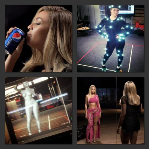 It was such a top secret job that I was not allowed to film or own any of the filming done that day. All I have to show for it are these 2 photos: Top Right - me in the Motion-Capture suit, Bottom Left - a photo of my image taking a photo of myself CGI'd as Beyoncé on the large TV screen which was capturing the image from all 6 camera which picked up the reflected points on my suit.