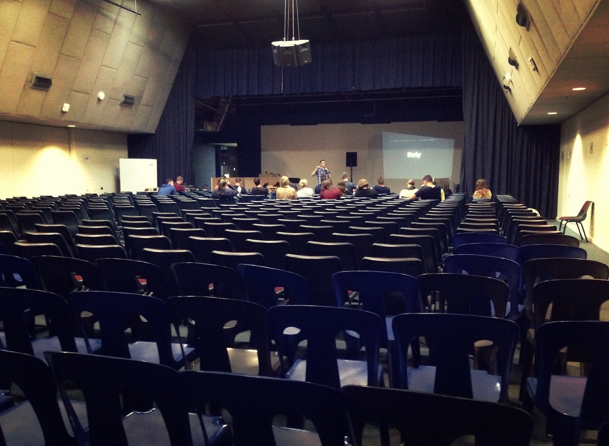 That week when the venue is set up for school assembly, and you don't have time to move the chairs, and you only fill the first two rows. #smallchurchlife