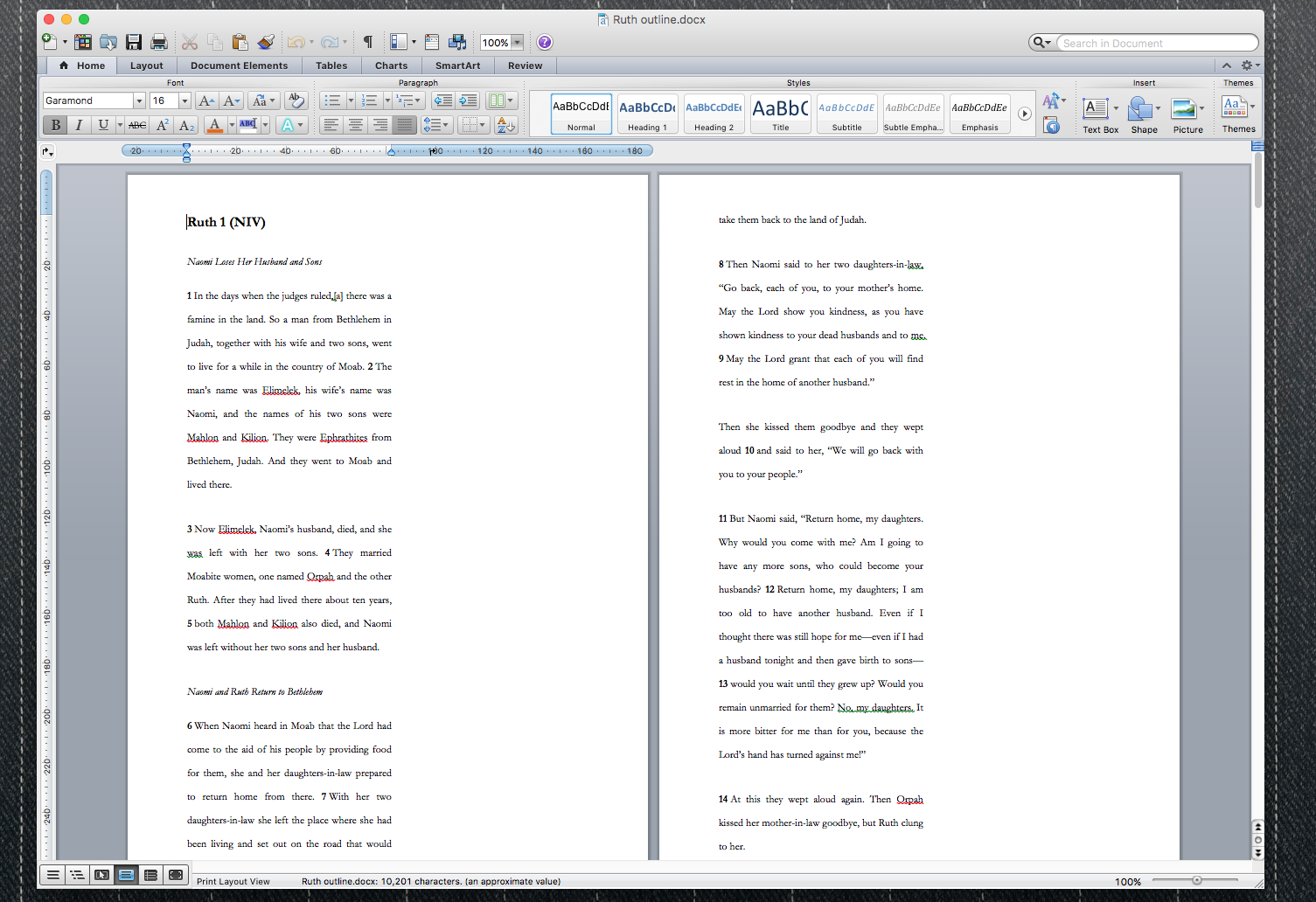 two columns: print and scribble notes in the blank column.