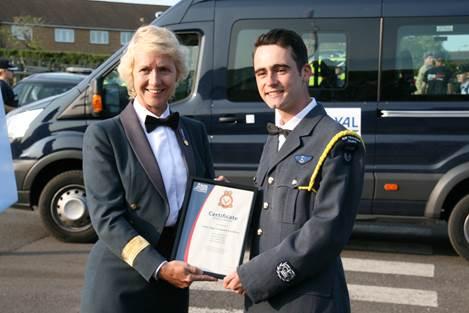CWO Rafferty receiving his certificate