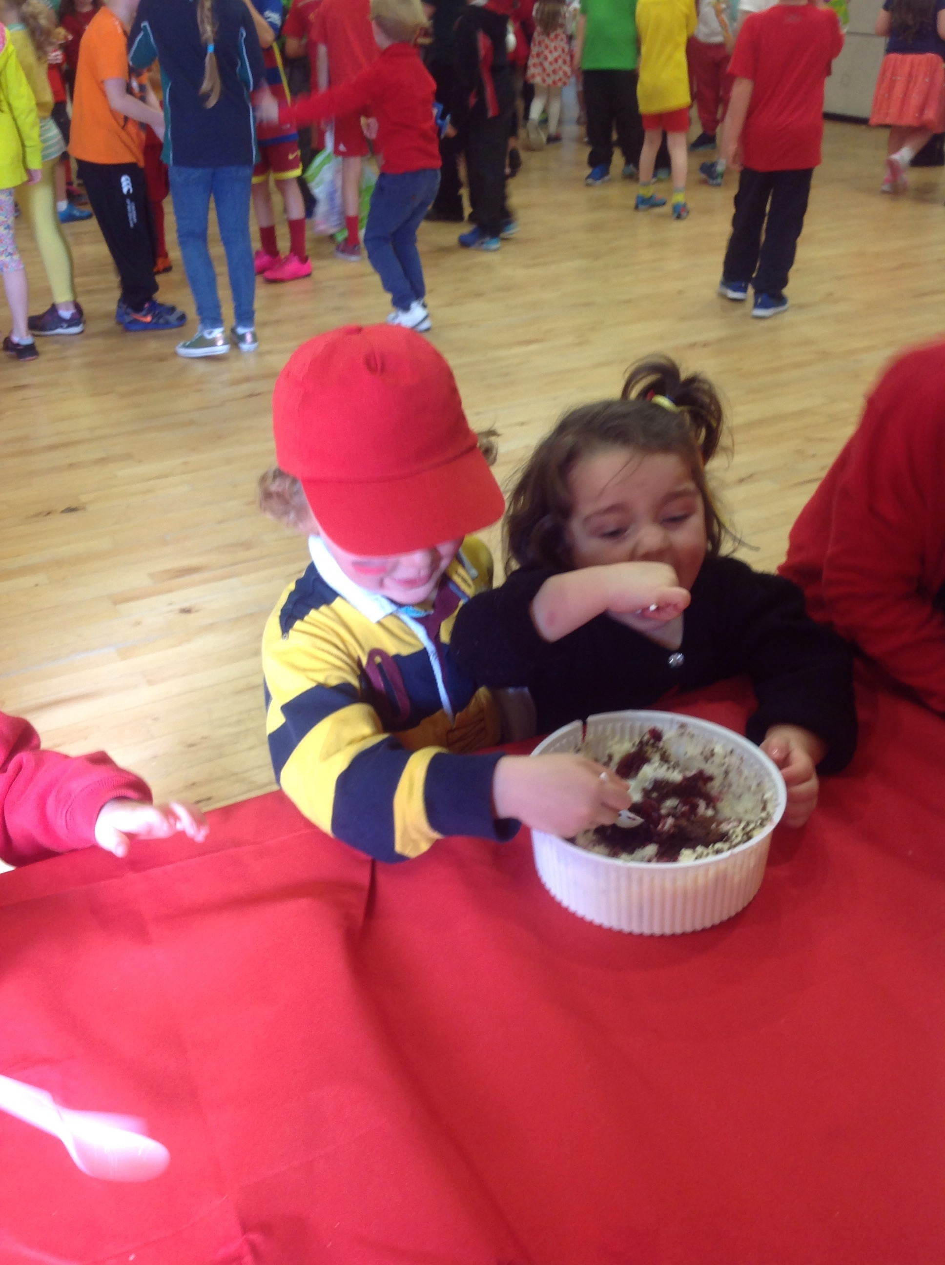 Holly and Oliver enjoying some Black Forest Gateau!