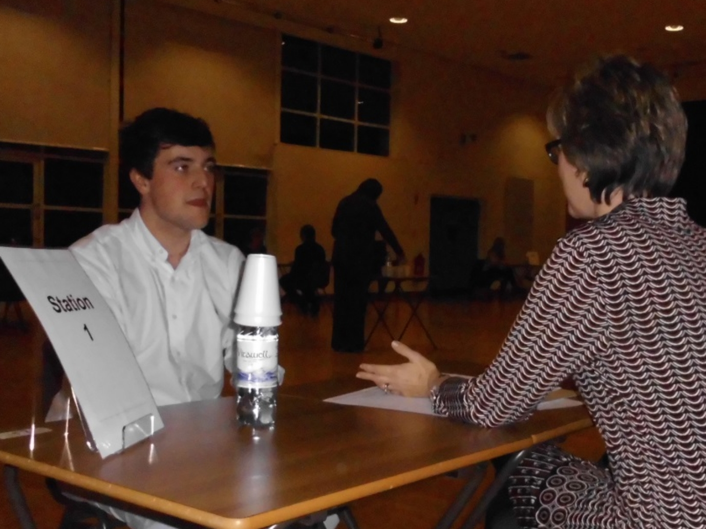 Head boy, Mark Rea, with Dr Gibson (parent and past pupil) at the first MMI (Multi Mini Interview) station.