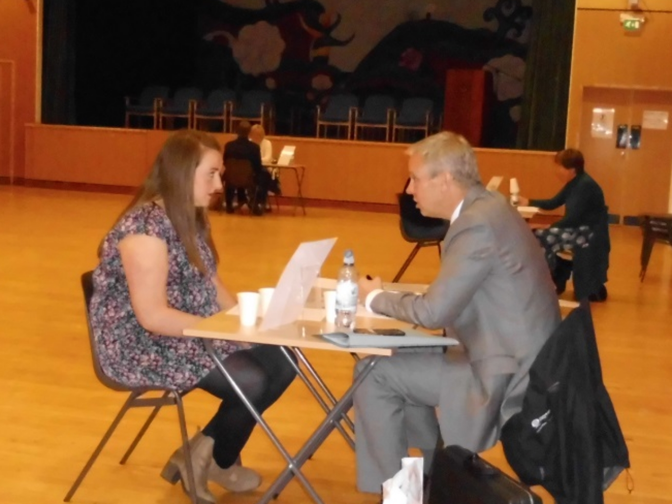 Parent, Dee Corbett, interviewing Rebekah McKeag.