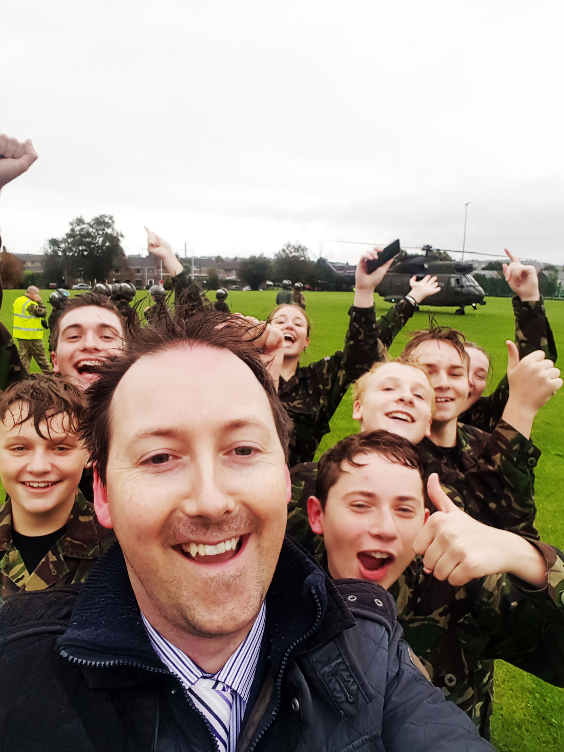 Flying in a helicopter makes cadets happy!