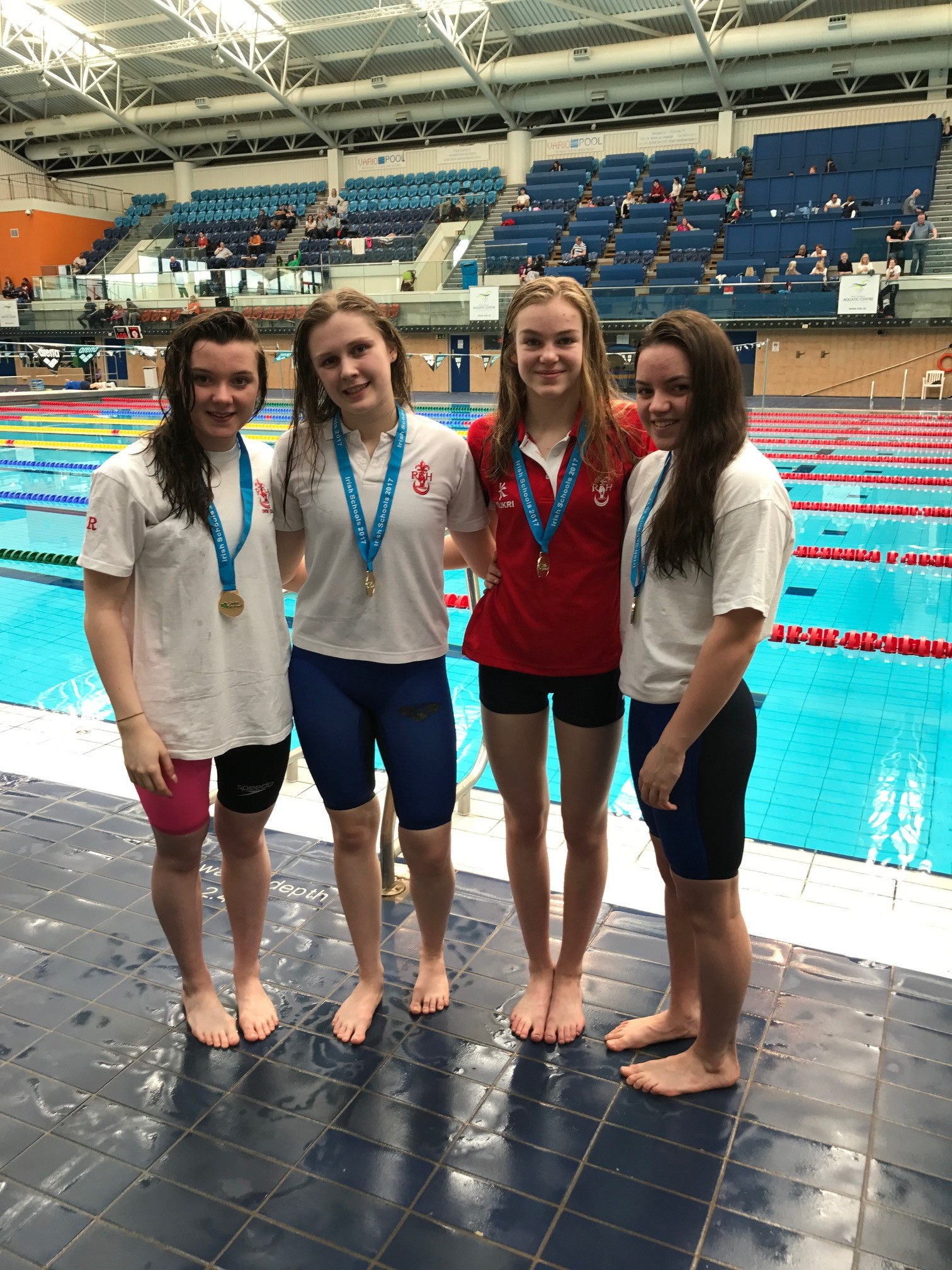 The Senior Girls Relay Team - came 1st in the Medley Team Relay and 1st in the Freestyle Team Relay