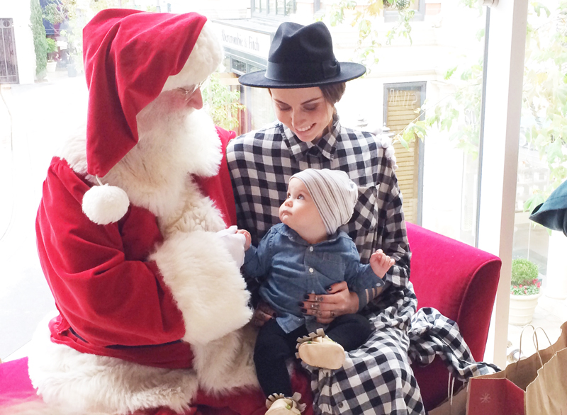 Made for Pearl  creative director Katie Kay Mead and her adorable baby boy Atlas posing with Santa.