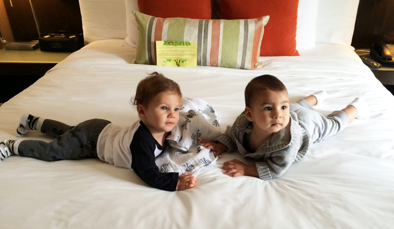 Just two dudes, hangin'. This is fashion consultant  Kristina Stybel  's little guy Leo with FMLA founder Natalie Alcala's boyDiego.