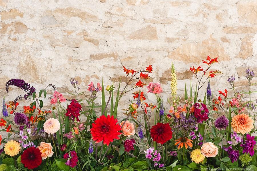 Wedding flowers Bristol. Meadow display