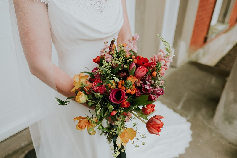 Roberta's bridal bouquet with scented spring flowers