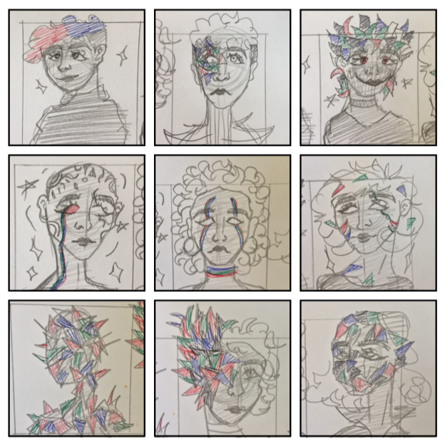 BY SHAIKA AL-MISBAH, STAGE ONE, BOX HILL COLLEGE KUWAIT, SPRING 2019, CHARACTER THUMBNAILS.