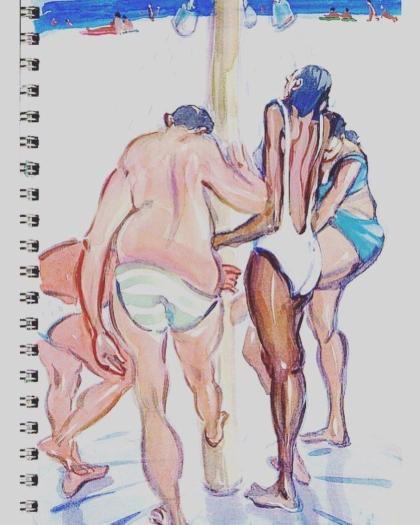 Another spa sketch from a cycling trip through Hungary and Romania. #art #arte #kunst #gouache #worksonpaper #drawing #sketch #sketchbooktour #artist #ontheroad #unterwegs #davidfebland #water #summer #spa #swimming #figurativeart #figurativedrawing #representationalart #contemporaryart