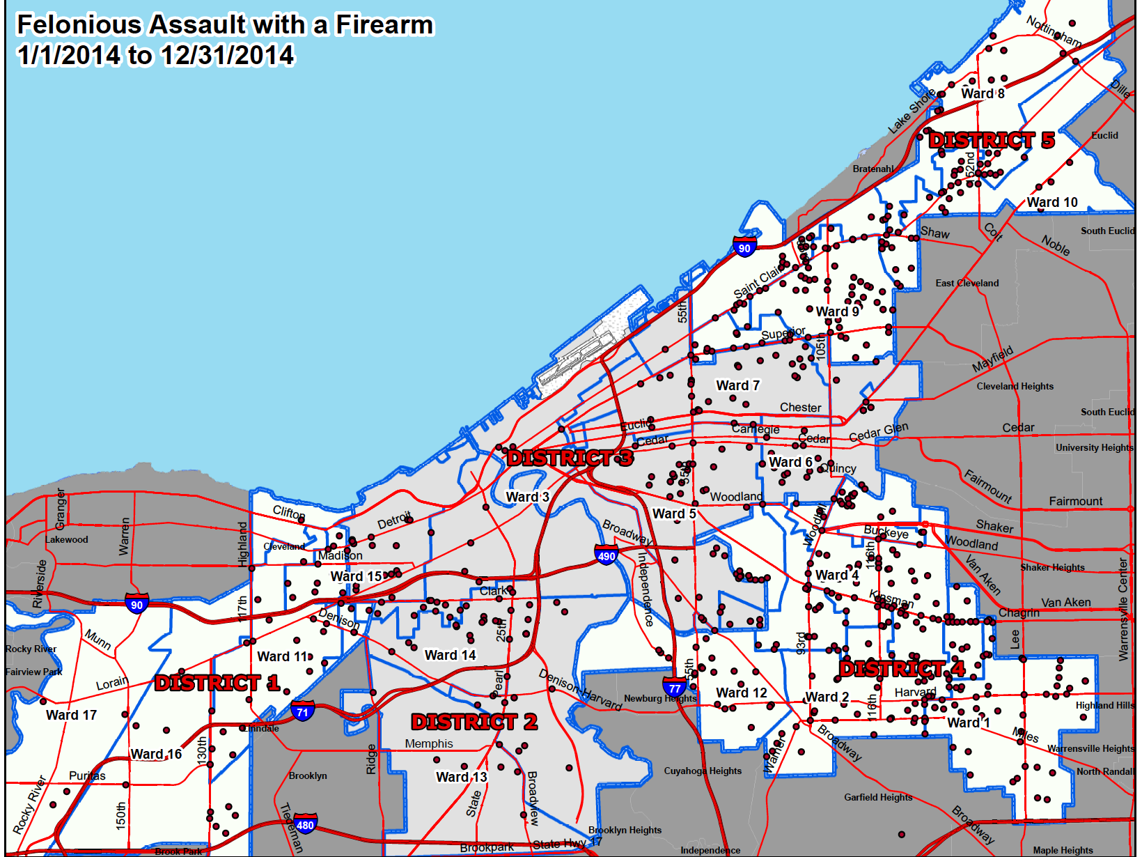 Click here to view a full PDF of Cleveland felonious assaults with a firearm in 2014.