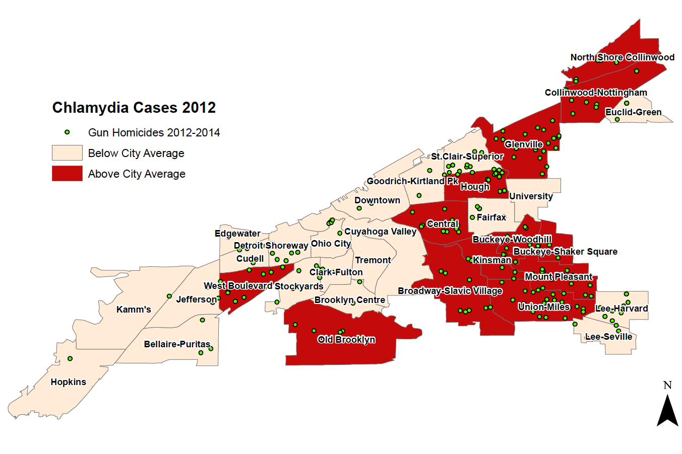 Click here to view a full PDF of Cleveland chlamydia cases mapped with a homicide overlay.