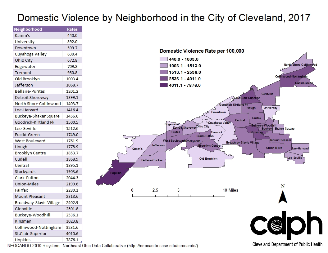 Domestic violence in Cleveland during 2017, displayed by neighborhood boundaries.