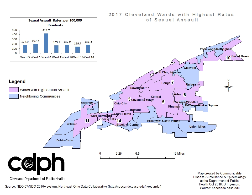 Sexual violence in Cleveland during 2017, displayed by Cleveland Ward boundaries.