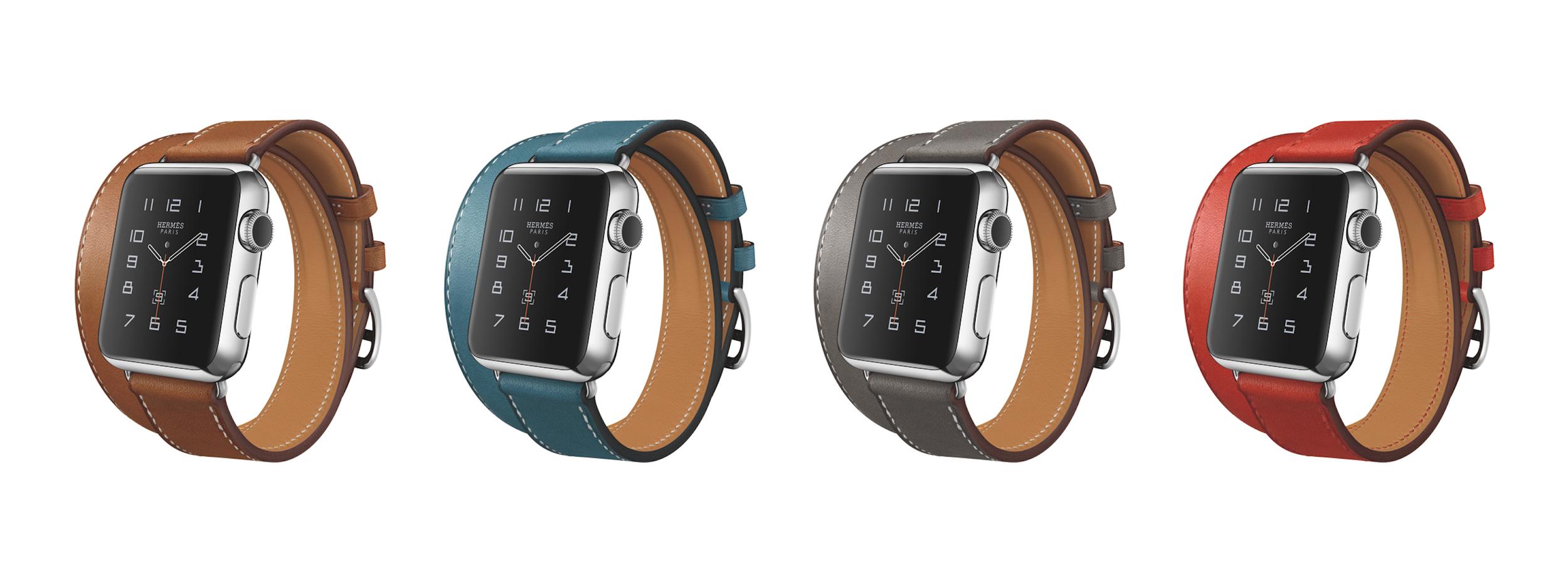 애플 워치 에르메스 더블 투어는 총 네 가지 색상으로 나온다. (애플 보도자료)