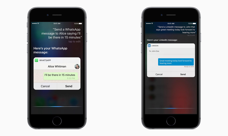 왓츠앱(왼쪽)과 링크드인(오른쪽)의 시리를 시용한 메시지 보내기 기능 예시.