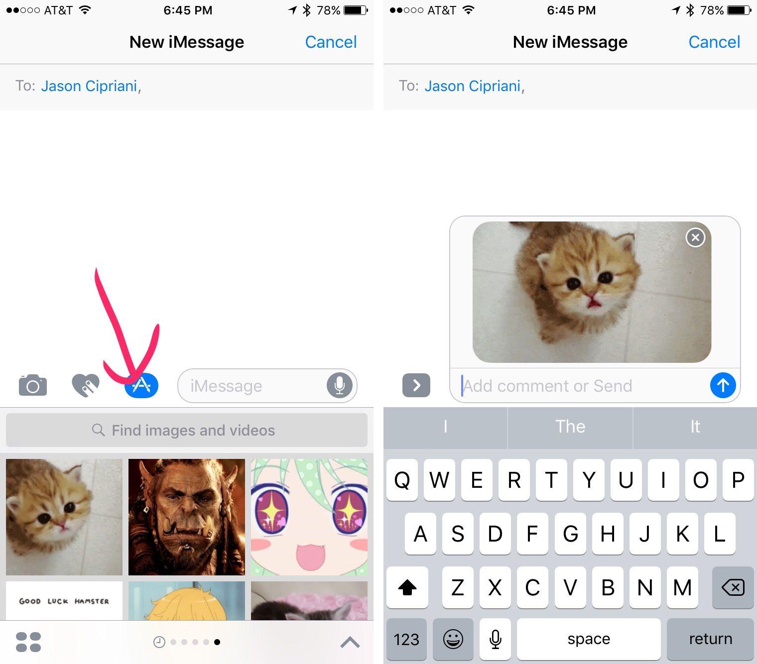 iOS 10 메시지 앱의 이미지 검색 기능. (CNET)