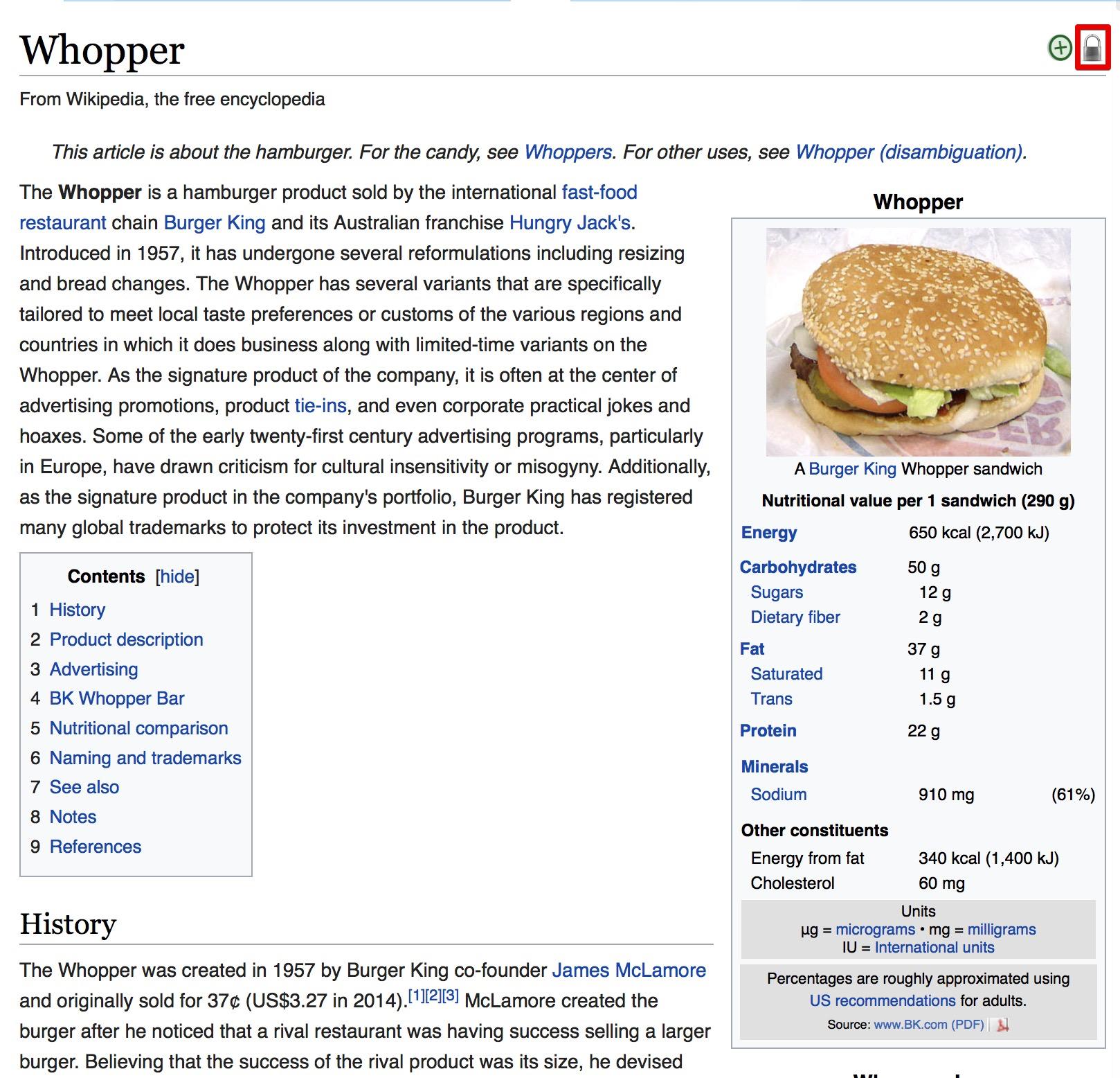 위키백과는 결국 글을 잠가버려야 했다.