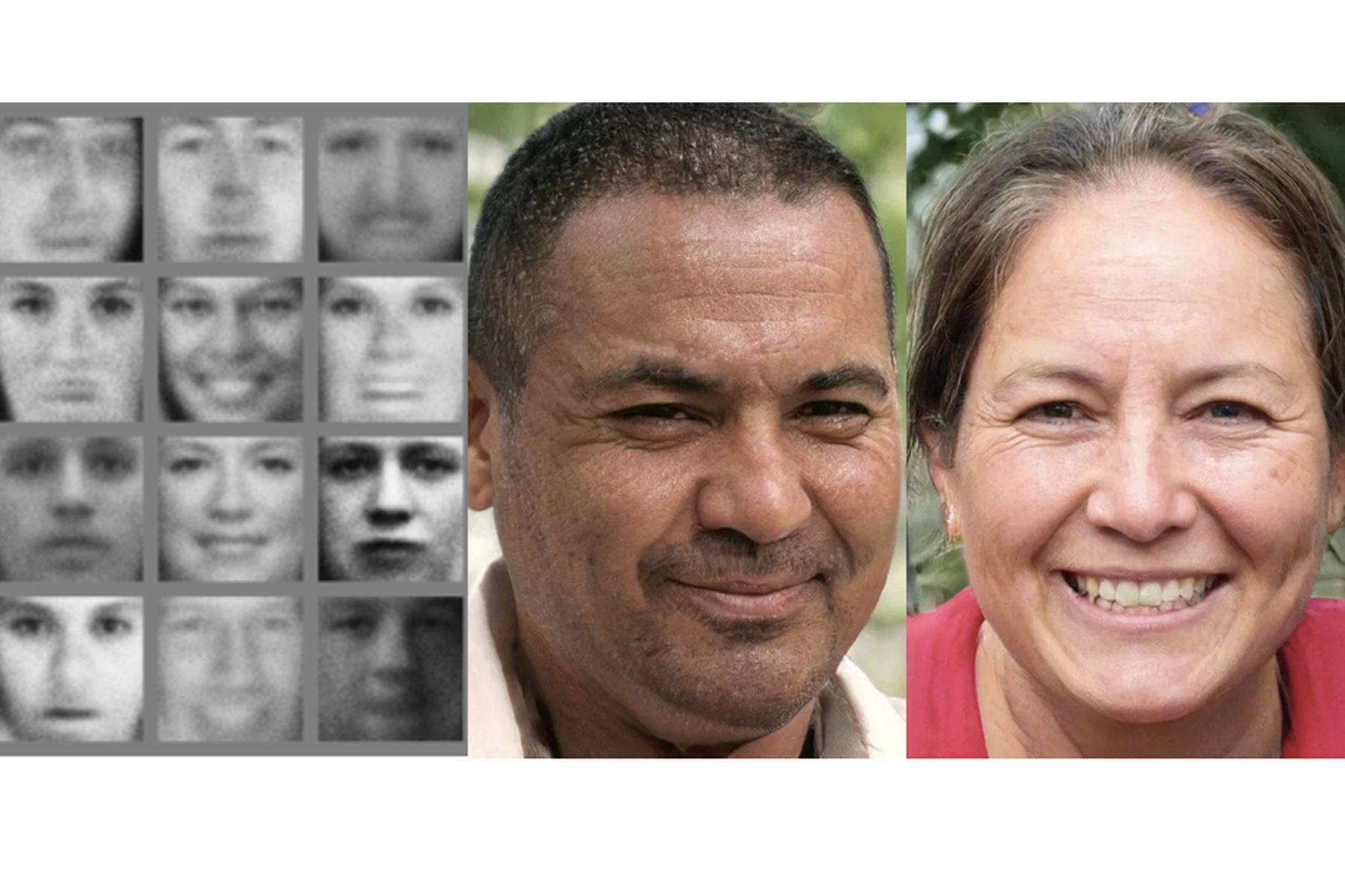 맨 왼쪽: 2014년 당시 GAN이 만들어낸 인공 얼굴. 오른쪽 둘: 2018년의 GAN이 만들어낸 인공 얼굴.