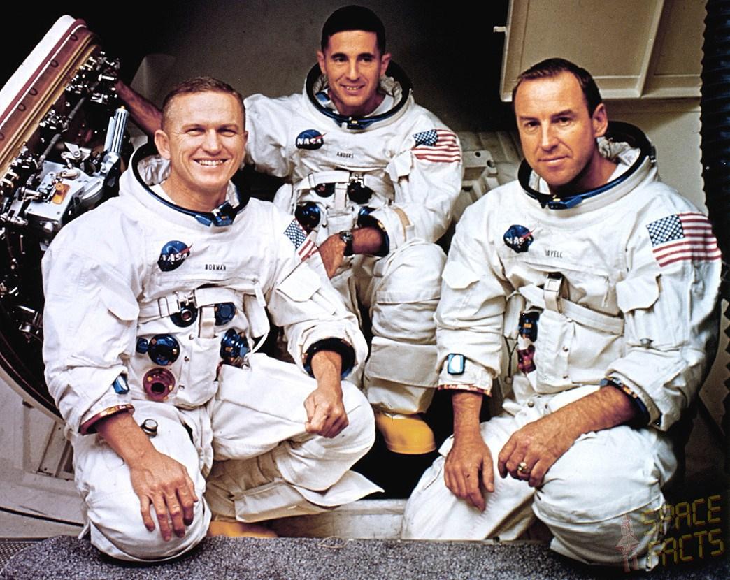 아폴로 8호의 팀원들. 왼쪽부터 사령관 프랭크 보어먼, 착륙선 조종사인 윌리엄 앤더스, 사령선 조종사인 짐 러벨