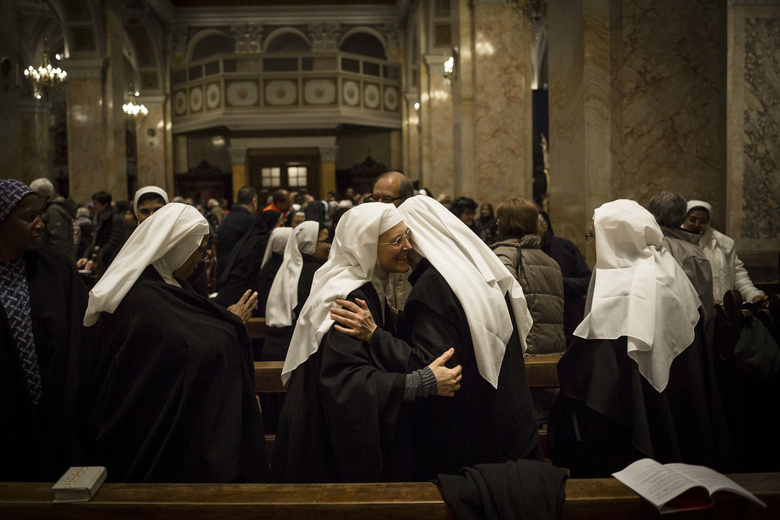 Nuns taking part at the Week of Prayer in the St. Francis Church in Jerusalem's Old City.