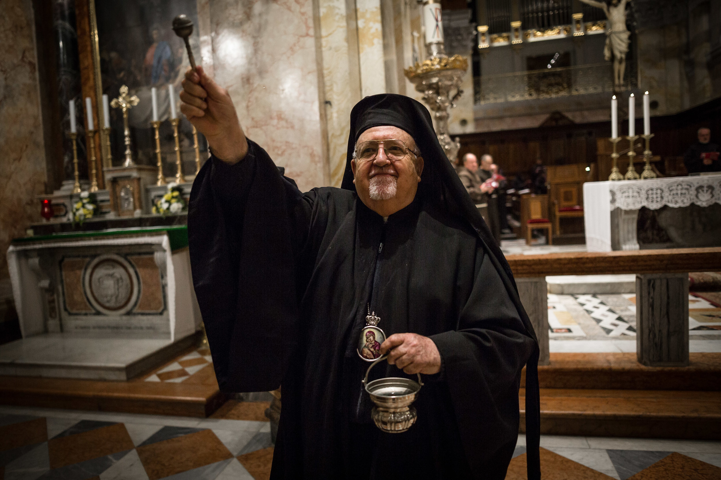 Joseph Jules Zerey, Archbishop of the Melkite Greek Catholic Church and Apostolic Vicar of Jerusalem takes part on the week of prayer in the Franciscan Monastery of San Salvador During in Jerusalem's Old City.