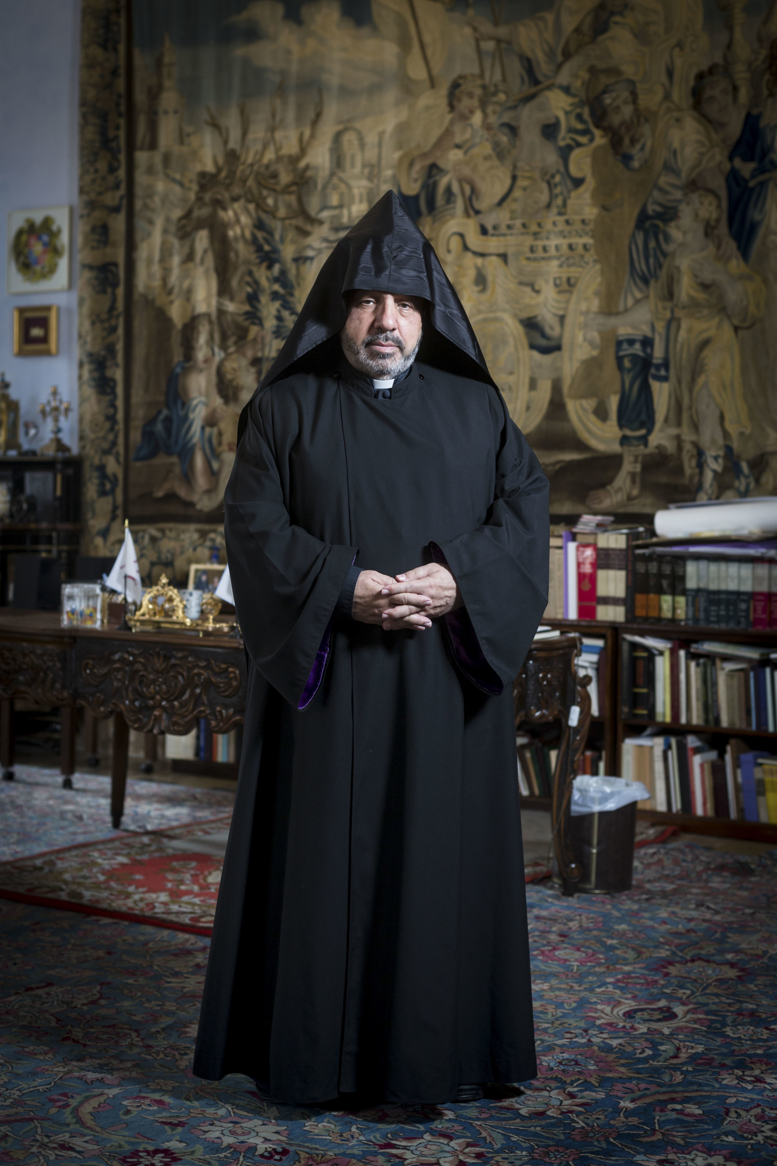 Portrait of Archbishop Nourhan Manougian, Patriarch of the Armenian Orthodox Patriarchate of Jerusalem in Jerusalem's Old City