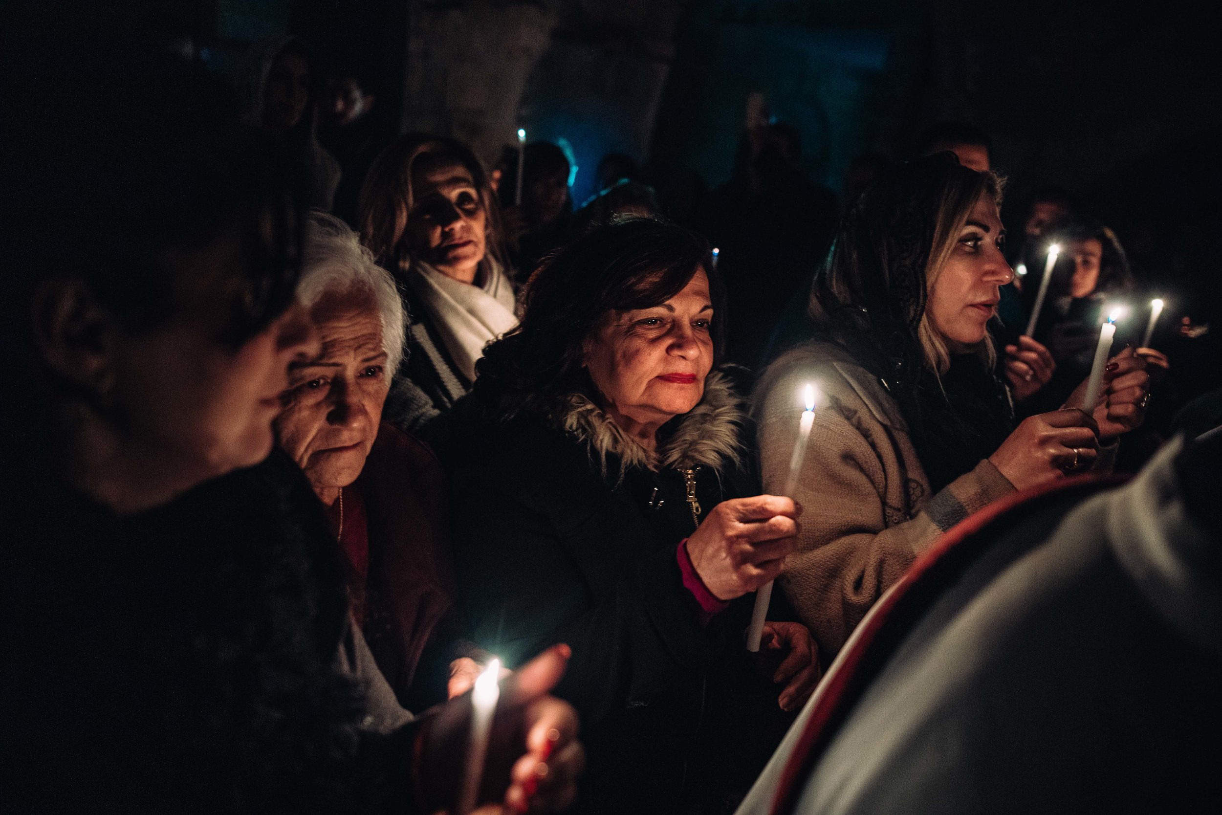 Syrian Orthodox worshipper are participating the easter ceremony in Saint Marks`s Jerusalem