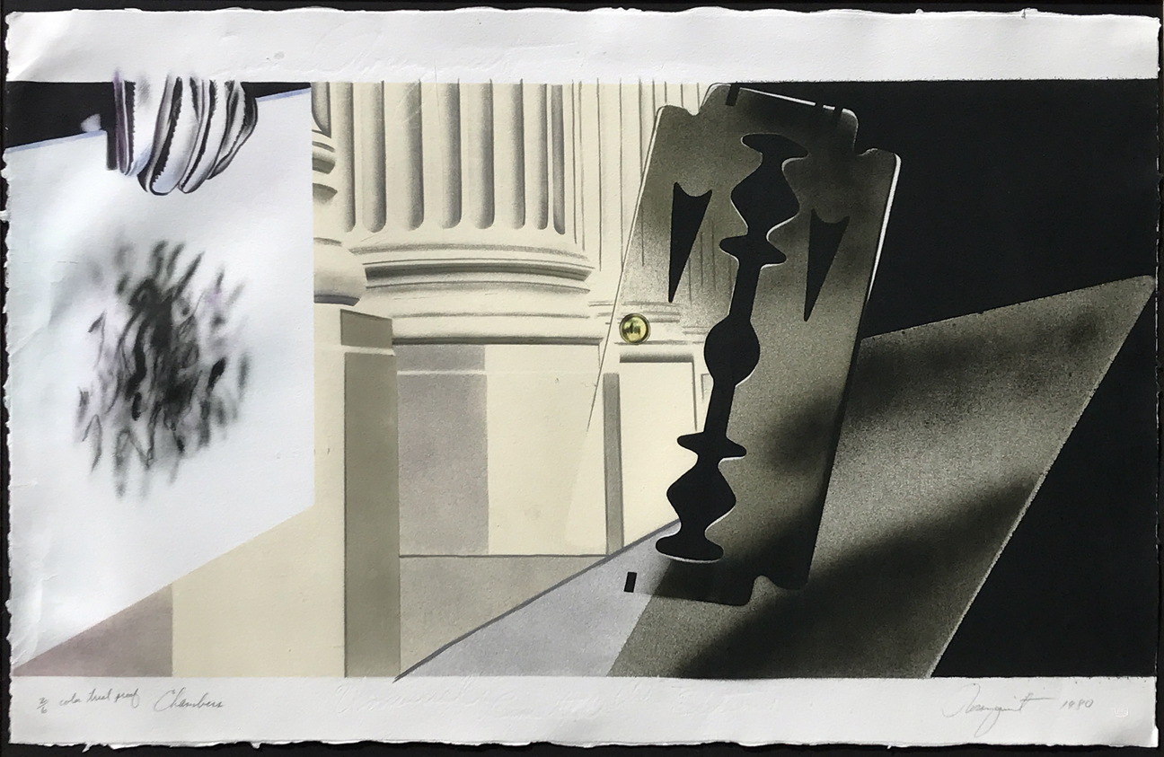 11.	James Rosenquist. Chambers, 1980. Lithograph, ed. AP 2/6 from the collection of Robert Rauschenberg, 25 x 47 ½.