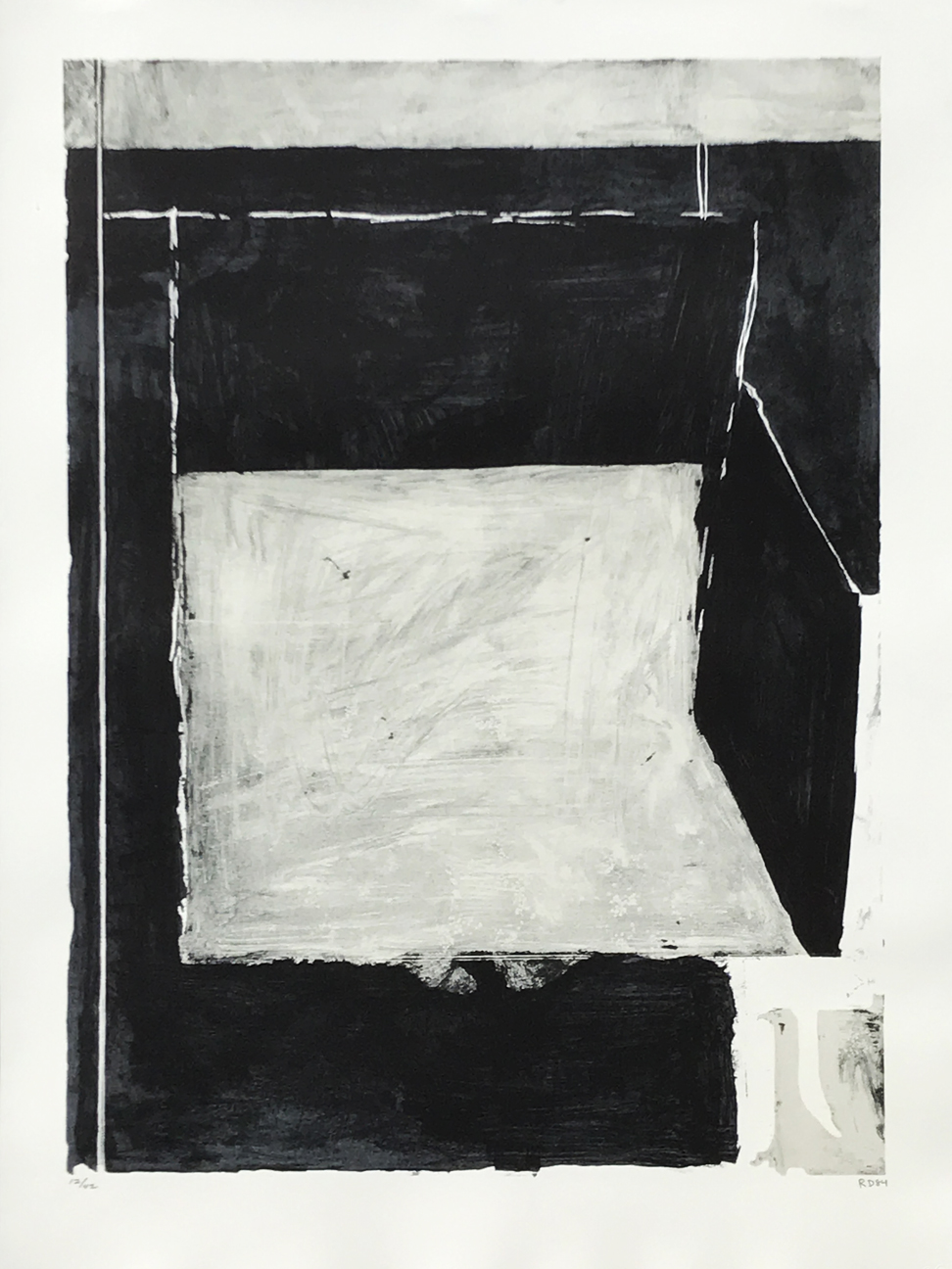 2.Richard Diebenkorn. Black and Grey, 1984. 3 color lithograph, ed. 12/42, 30 x 21 7/8 in.