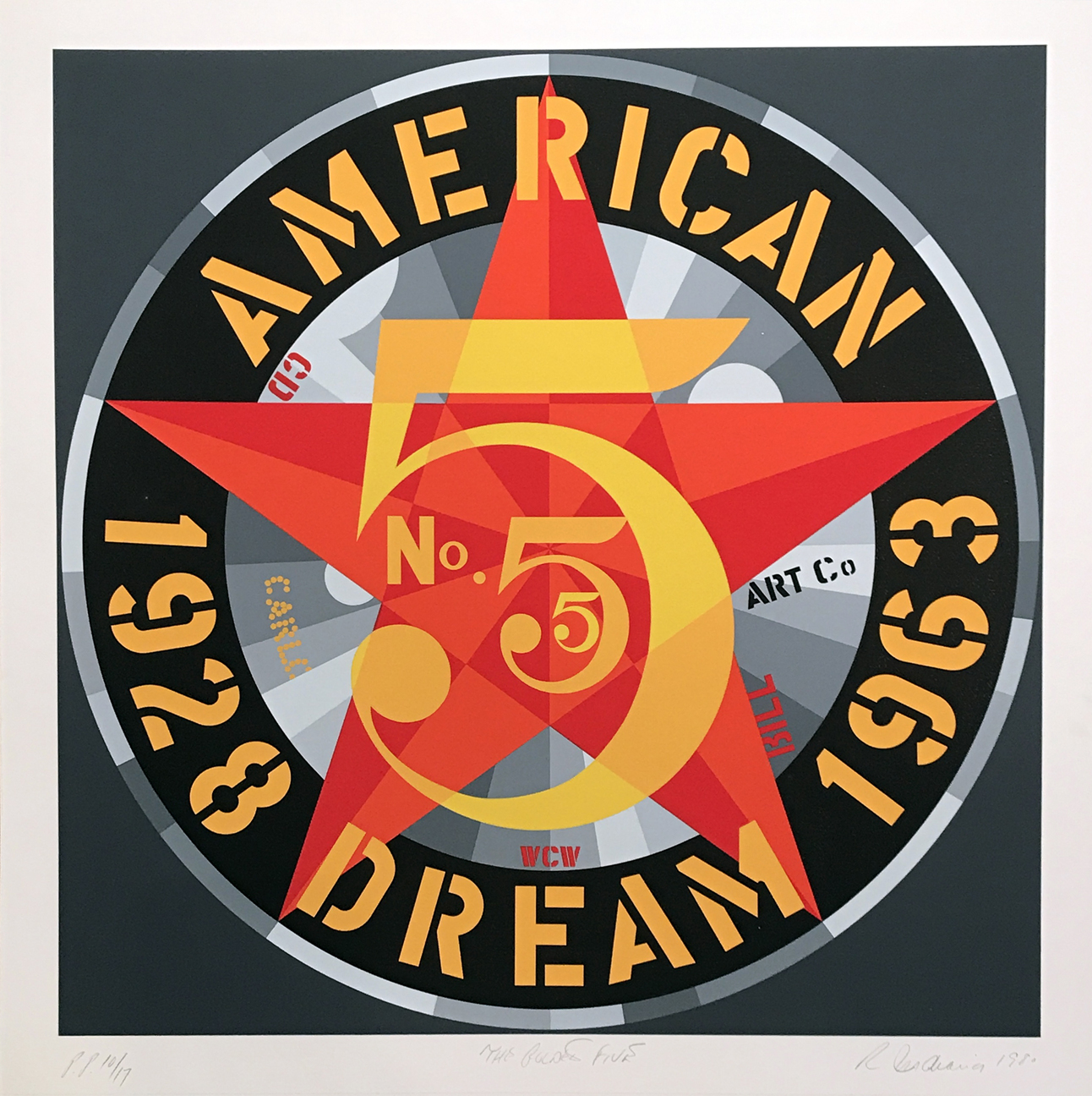 12.	Robert Indiana. The Golden Five, 1980. Serigraph in colors on five sheets of Fabriano 100% rag paper, ed. P.P. 10/17, 26 ¾ x 26 ¾ in.