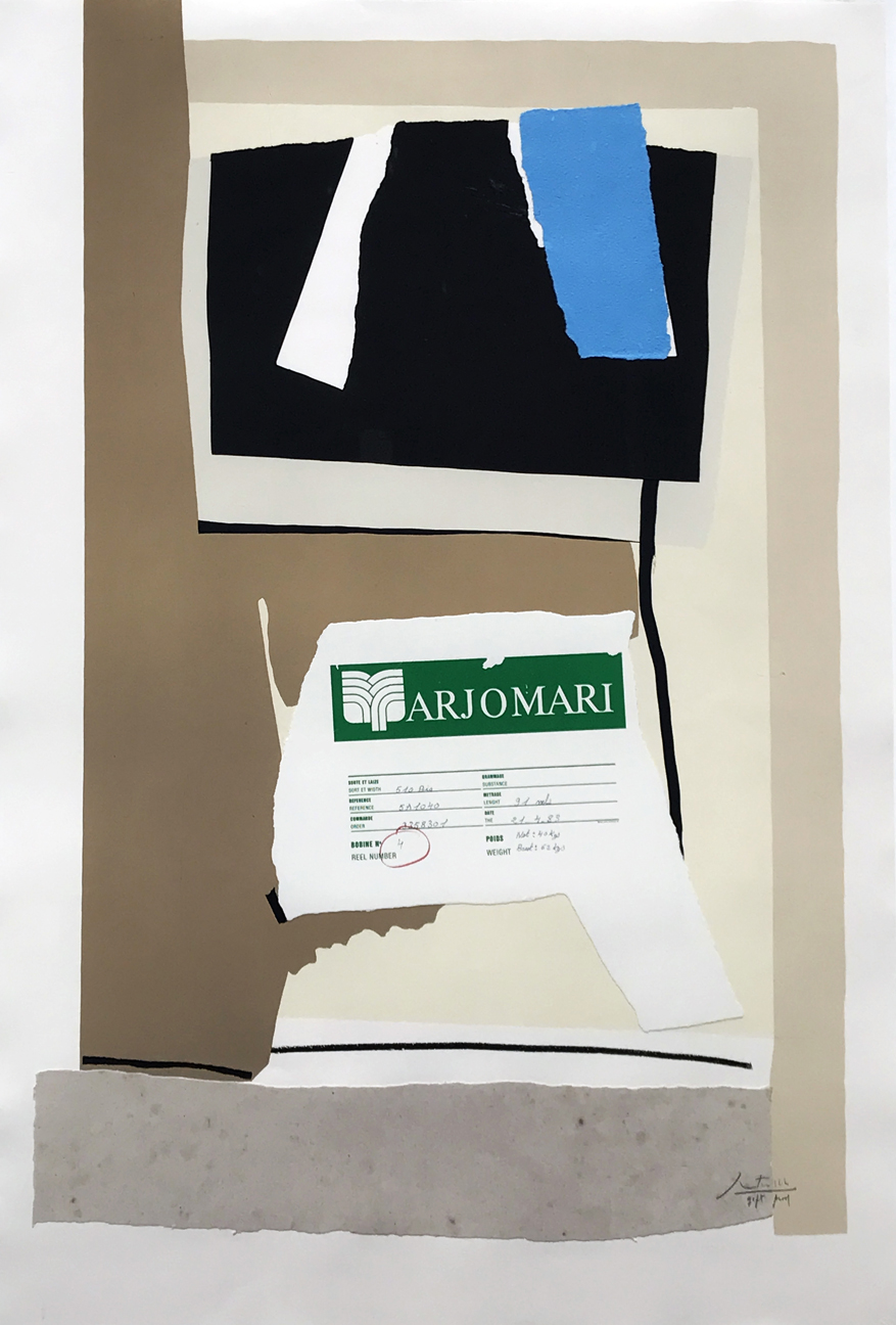 8.Robert Motherwell. America-La France Variations VII, 1984. Lithograph, collage on white Arches Cover, mould-made paper, and hand-made paper, ed. 3 Gift Proofs, 52 ¾ x 36 in.