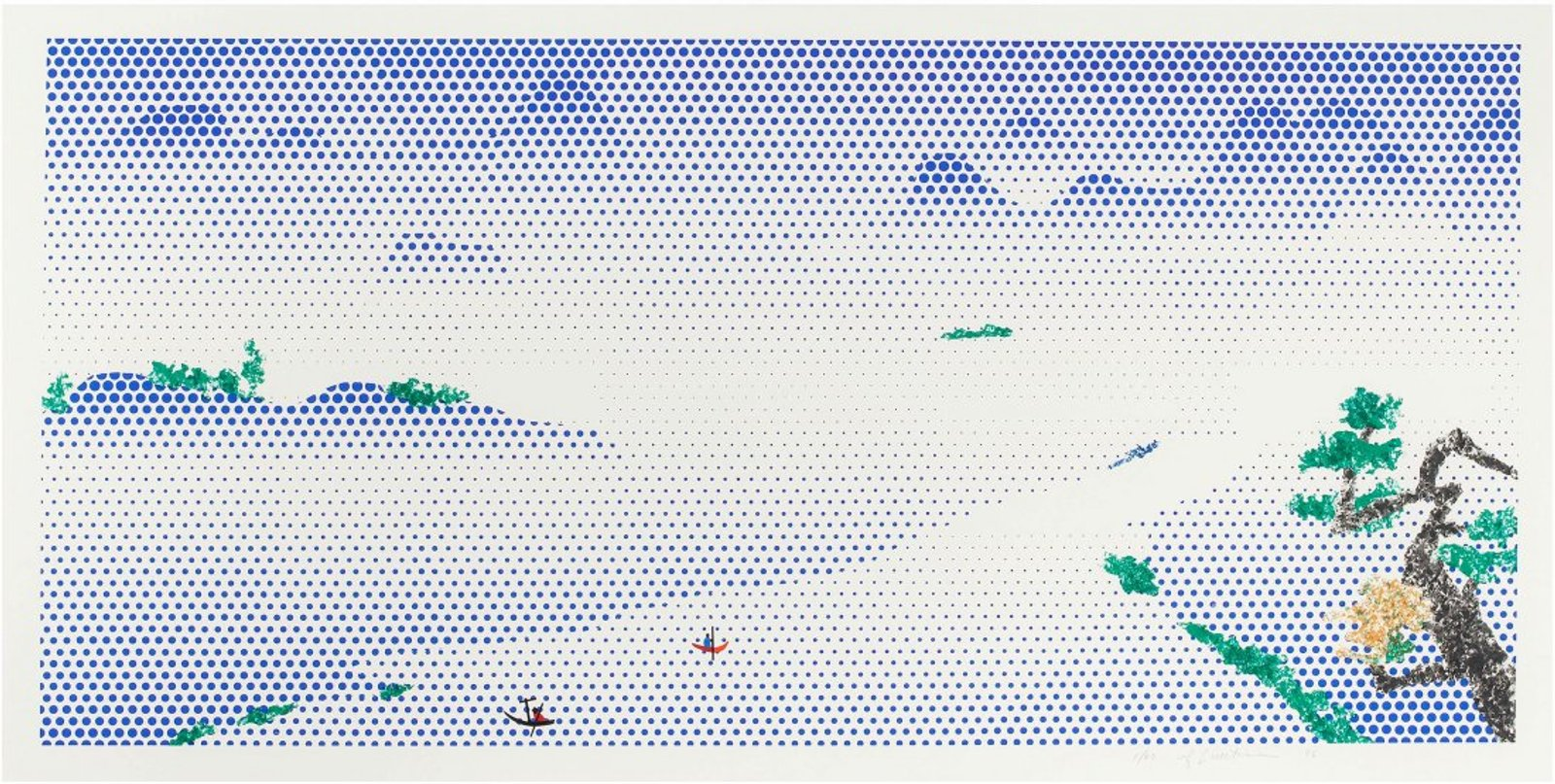 Roy Lichtenstein. Landscape With Boats, 1996.