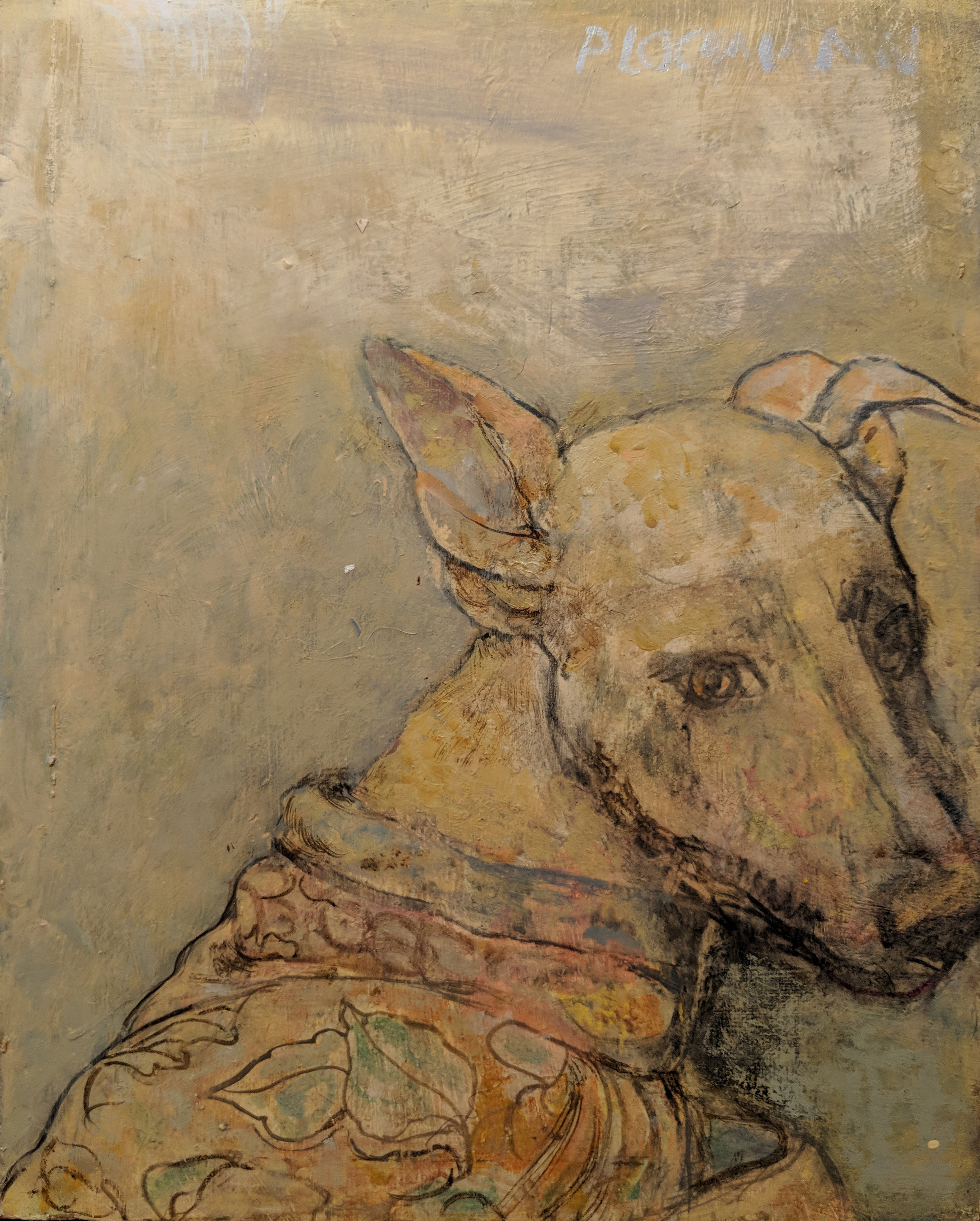 Carolyn Plochmann.   Molly Dog.  Mixed media on board, 11 x 14 in.