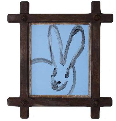 Slonem Untitled CER01321 2018 blue bunny dark frame.png