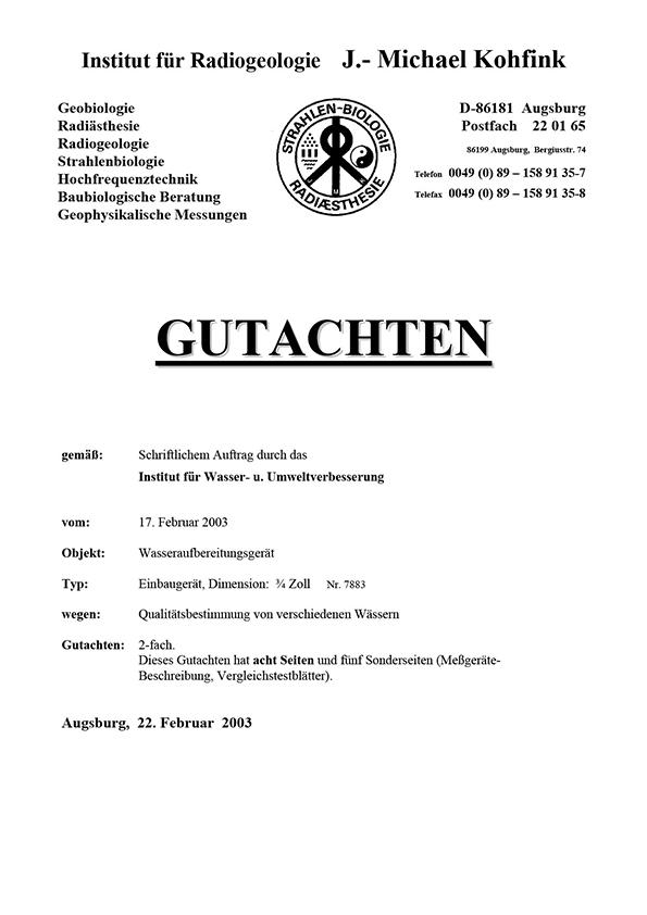 Dr. Kohfink, Gutachten, 2003