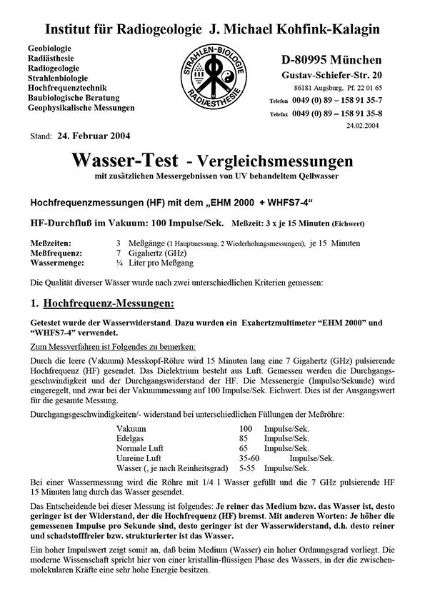 Dr. Kohfink, UV-Vergleichsmessungen, 2004