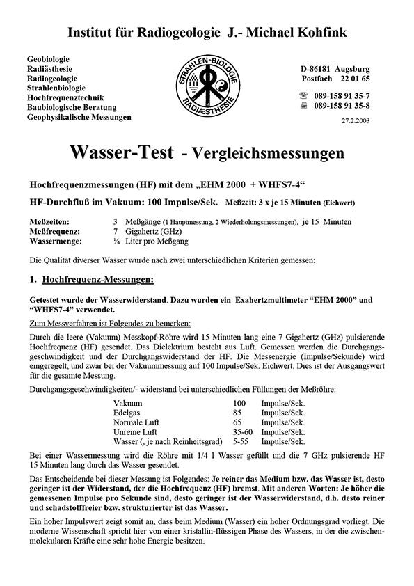Dr. Kohfink, Vergleichsmessungen, 2003
