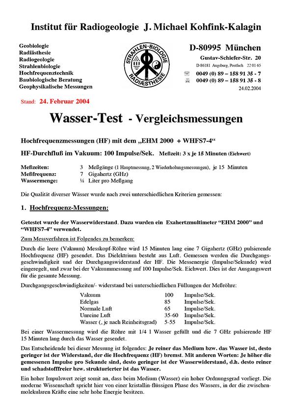 Dr. Kohfink, Vergleichsmessungen, 2004