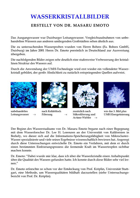 Dr. Masaru Emoto, Wasserkristallbilder