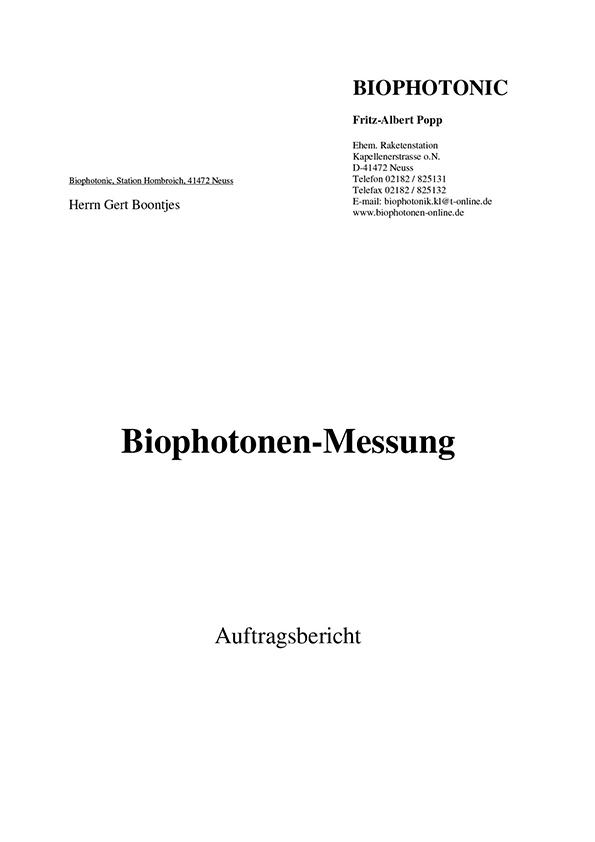 Dr. Popp, Biophotonenmessung, 2006