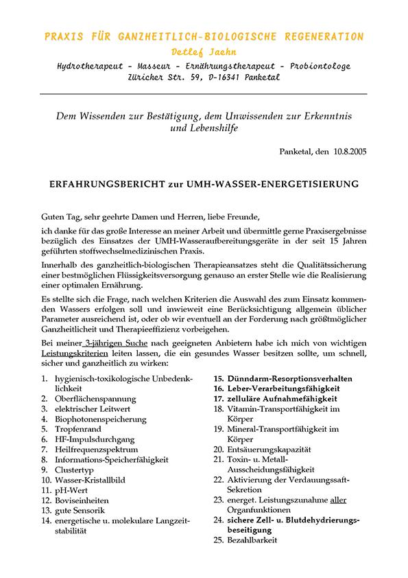 Hydrotherapeut Detlef Jaehn, Erfahrungsbericht, 2005
