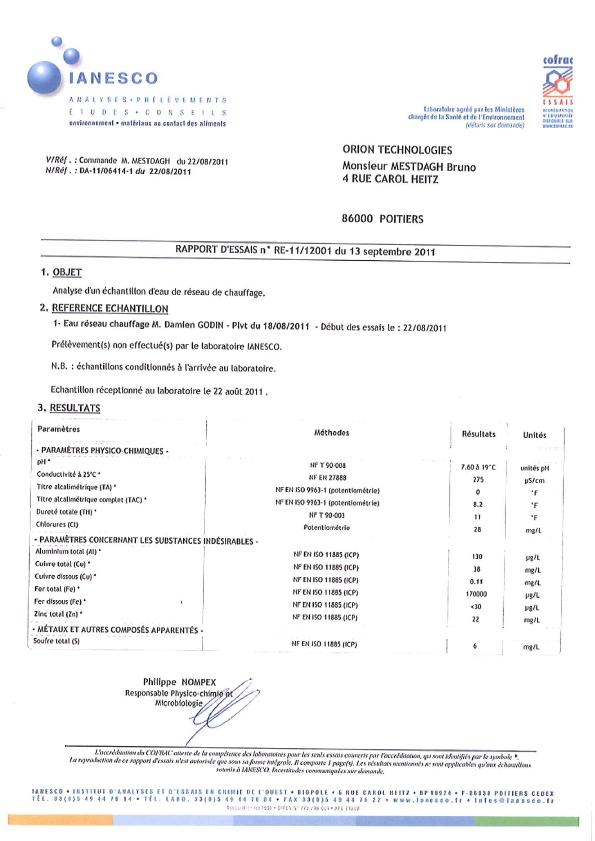 Laborergebnisse Heat Frankreich, 2011 (Französisch)