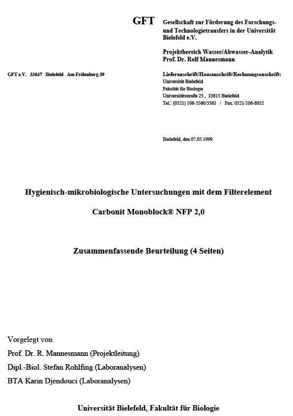 Hygienisch-mikrobiologische Untersuchung, 1999